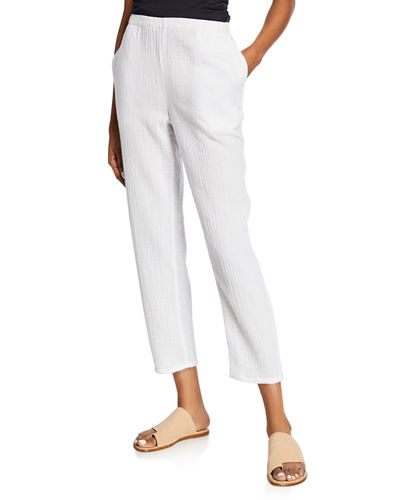 Petite Tapered Cotton Gauze Pull-On Pants