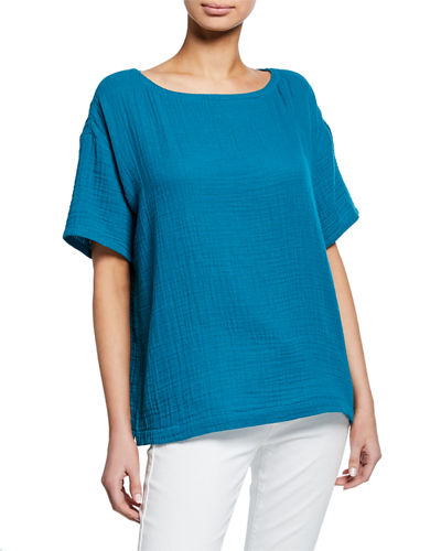 Short-Sleeve Cotton Gauze Top