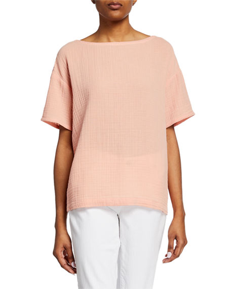 Eileen Fisher Short-Sleeve Cotton Gauze Top