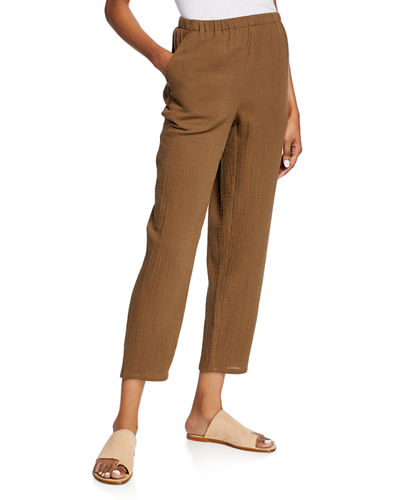 Tapered Cotton Gauze Pull-On Pants