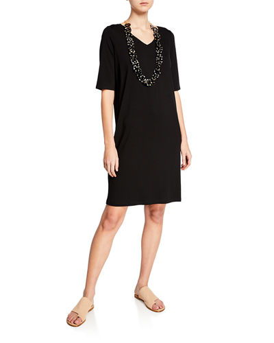 684c55c3527f1 Quick Look. Eileen Fisher · V-Neck Jersey Shift Dress
