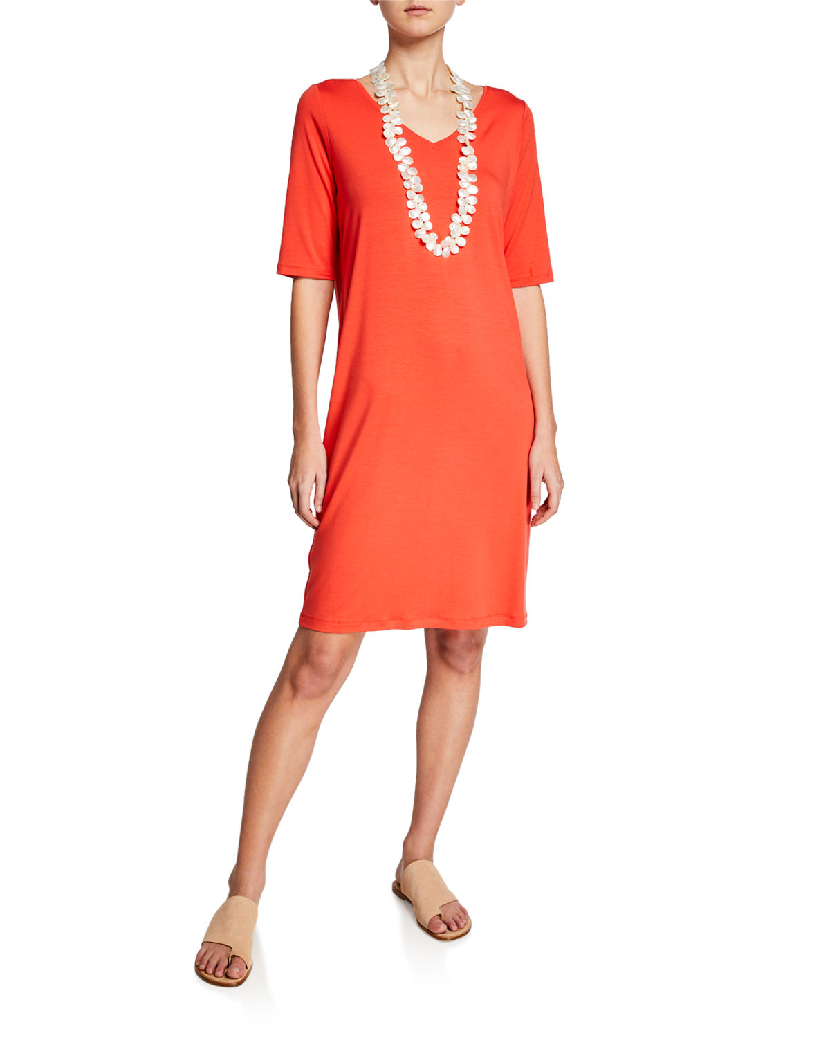 Eileen Fisher Dresses V-NECK JERSEY SHIFT DRESS