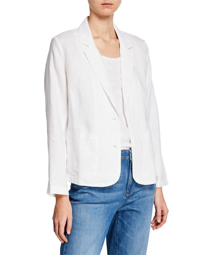 Plus Size Shaped Organic Linen Blazer