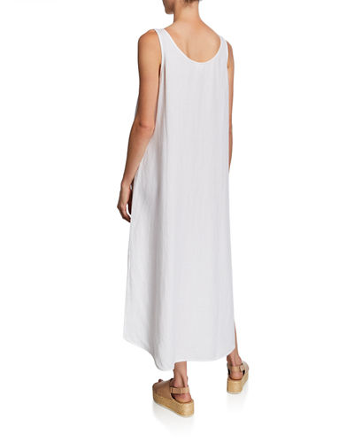 Eileen Fisher Scoop-Neck Belted Crepe Tank Dress