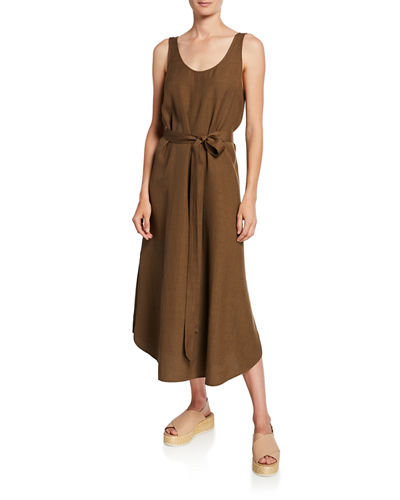 Scoop-Neck Belted Crepe Tank Dress