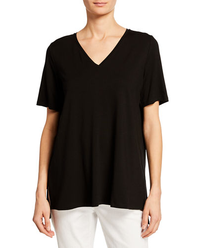 Eileen Fisher Petite Stretch Jersey High-Low Top
