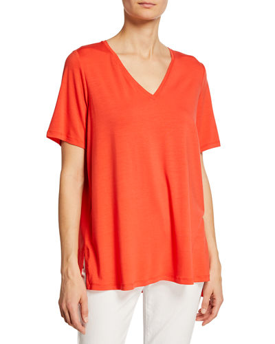 Petite Stretch Jersey High-Low Top