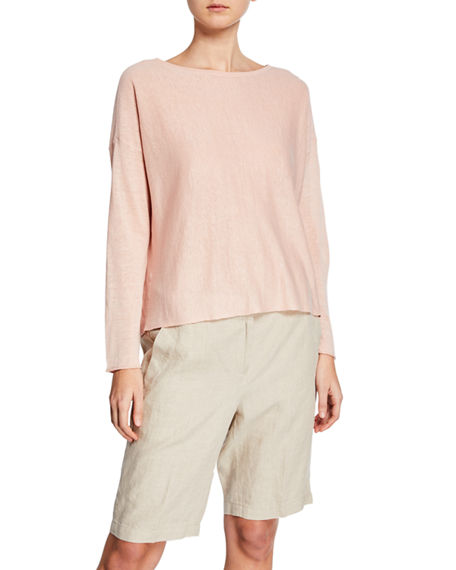 Eileen Fisher Sweaters BATEAU-NECK LONG-SLEEVE ORGANIC LINEN/COTTON SWEATER