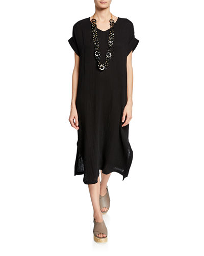 Petite V-Neck Short-Sleeve Lofty Organic Cotton Midi Dress