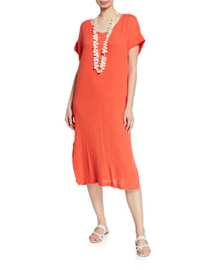 c5a668c36fb3 Eileen Fisher Petite V-Neck Short-Sleeve Lofty Organic Cotton Midi Dress