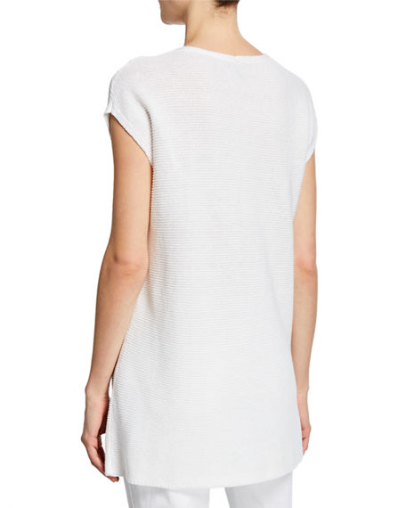 Image 2 of 2: Eileen Fisher V-Neck Short-Sleeve Textured Organic Linen-Cotton Tunic Sweater