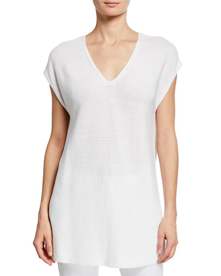 Image 1 of 2: Eileen Fisher V-Neck Short-Sleeve Textured Organic Linen-Cotton Tunic Sweater