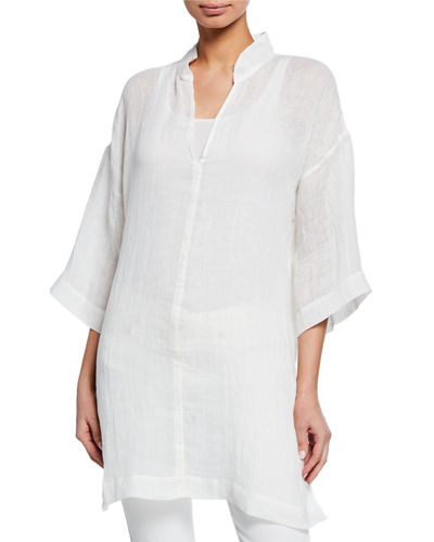 cf83fb4f573 Quick Look. Eileen Fisher · Stand-Collar 3/4-Sleeve Organic Linen Gauze  Tunic