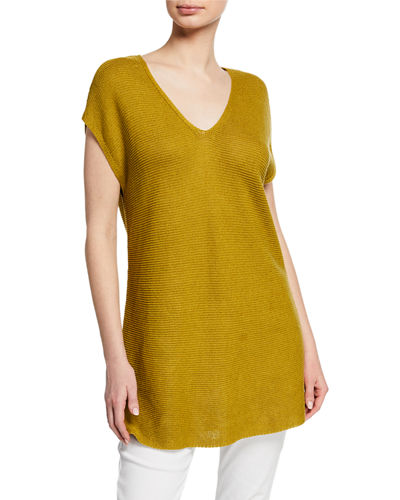 Petite V-Neck Short-Sleeve Textured Organic Linen-Cotton Tunic Sweater
