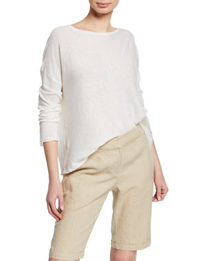 ec3ef78a38a033 Eileen Fisher Petite Bateau-Neck Long-Sleeve Organic Linen/Cotton Sweater