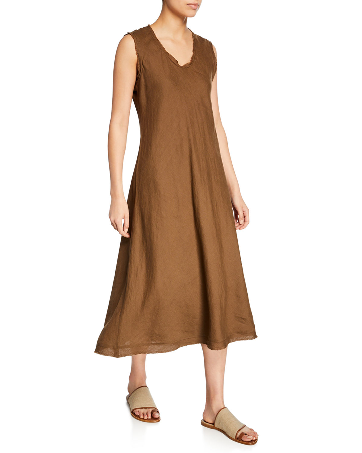Eileen Fisher Dresses PETITE SLEEVELESS ORGANIC HANDKERCHIEF LINEN RAW-HEM DRESS