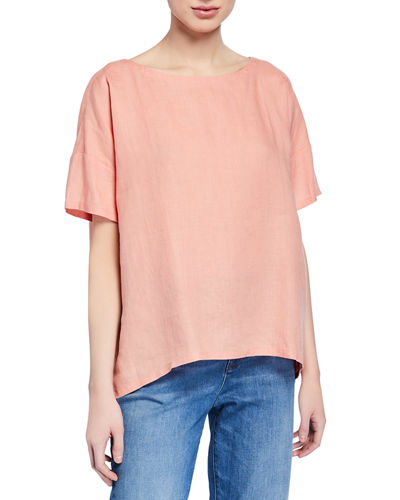 Petite Organic Handkerchief Linen Short-Sleeve Top