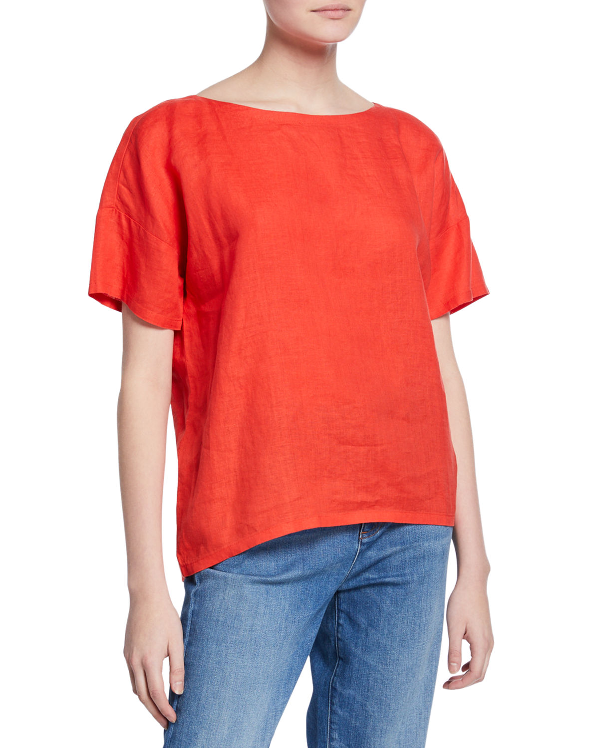 Eileen Fisher Shorts ORGANIC HANDKERCHIEF LINEN SHORT-SLEEVE TOP