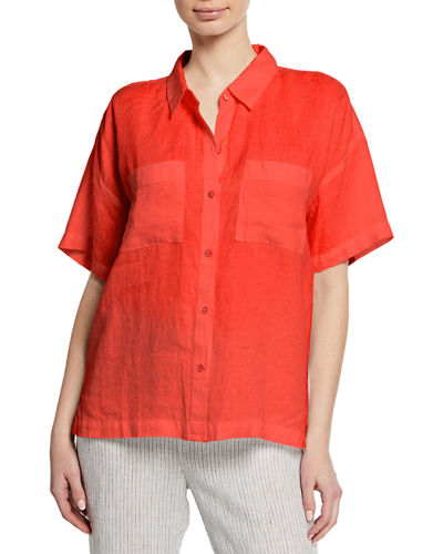 Petite Button-Down Short-Sleeve Organic Linen Shirt