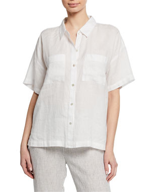 476e84b1 Eileen Fisher Button-Down Short-Sleeve Organic Linen Shirt