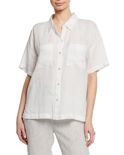 Button-Down Short-Sleeve Organic Linen Shirt