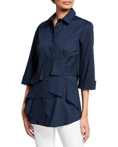 Jenna Button-Front 3/4-Sleeve Tiered Ruffle Blouse
