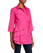 Finley Jenna Button-Front 3/4-Sleeve Tiered Ruffle Blouse