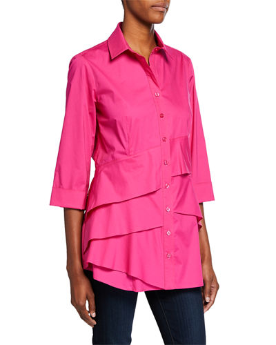 Plus Size Jenna Button-Front 3/4-Sleeve Tiered Ruffle Blouse