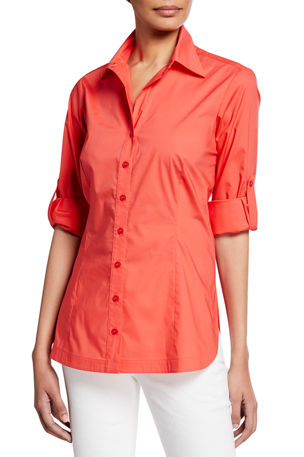 Finley Joey Button-Down Roll-Sleeve Top