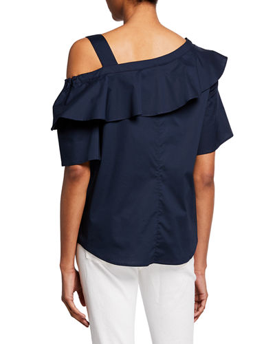 Finley Sasha Asymmetric Open-Shoulder Ruffle Top