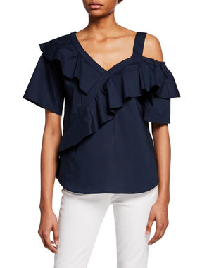 cc8dda4361a28b Finley Sasha Asymmetric Open-Shoulder Ruffle Top