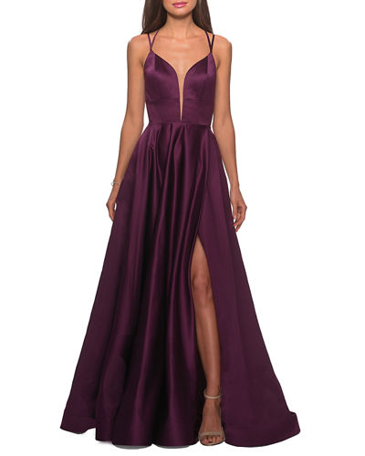 V-Neck Sleeveless Strappy-Back Satin Gown w/ Thigh Slit