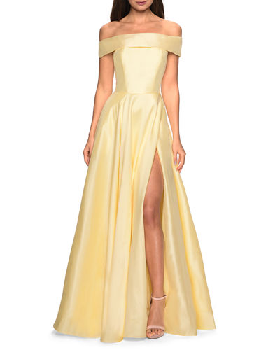 Off-the-Shoulder Satin A-Line Gown with Slit