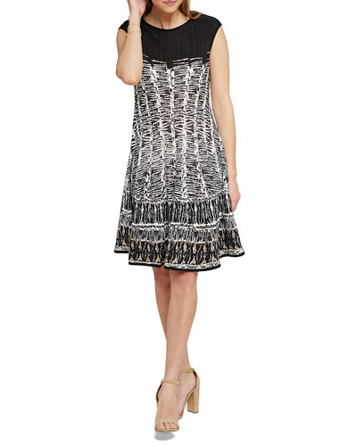 Garden Party Printed Boat-Neck Cap-Sleeve Dress