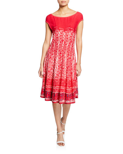 Petite Garden Party Printed Boat-Neck Cap-Sleeve Dress