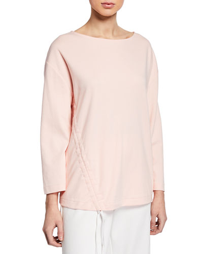 Long-Sleeve Cotton Interlock Top with Ruching & Tie Detail