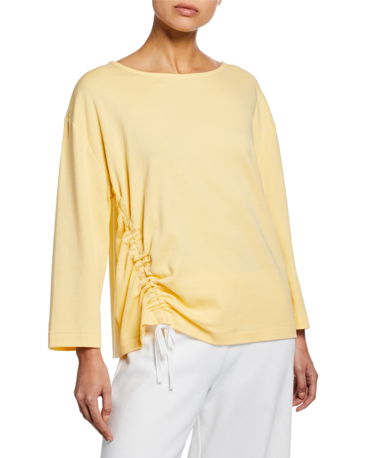 Joan Vass Tops PETITE LONG-SLEEVE COTTON INTERLOCK TOP WITH RUCHING & TIE DETAIL