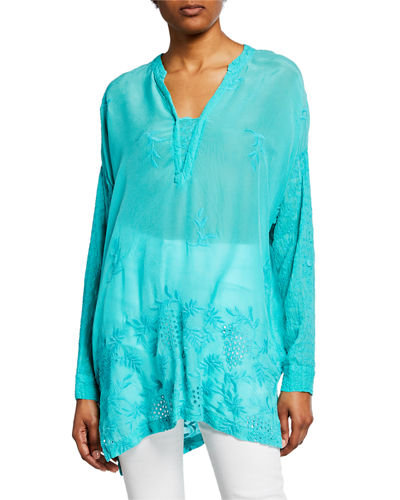 Ellie Long-Sleeve Georgette Eyelet & Embroidered Top