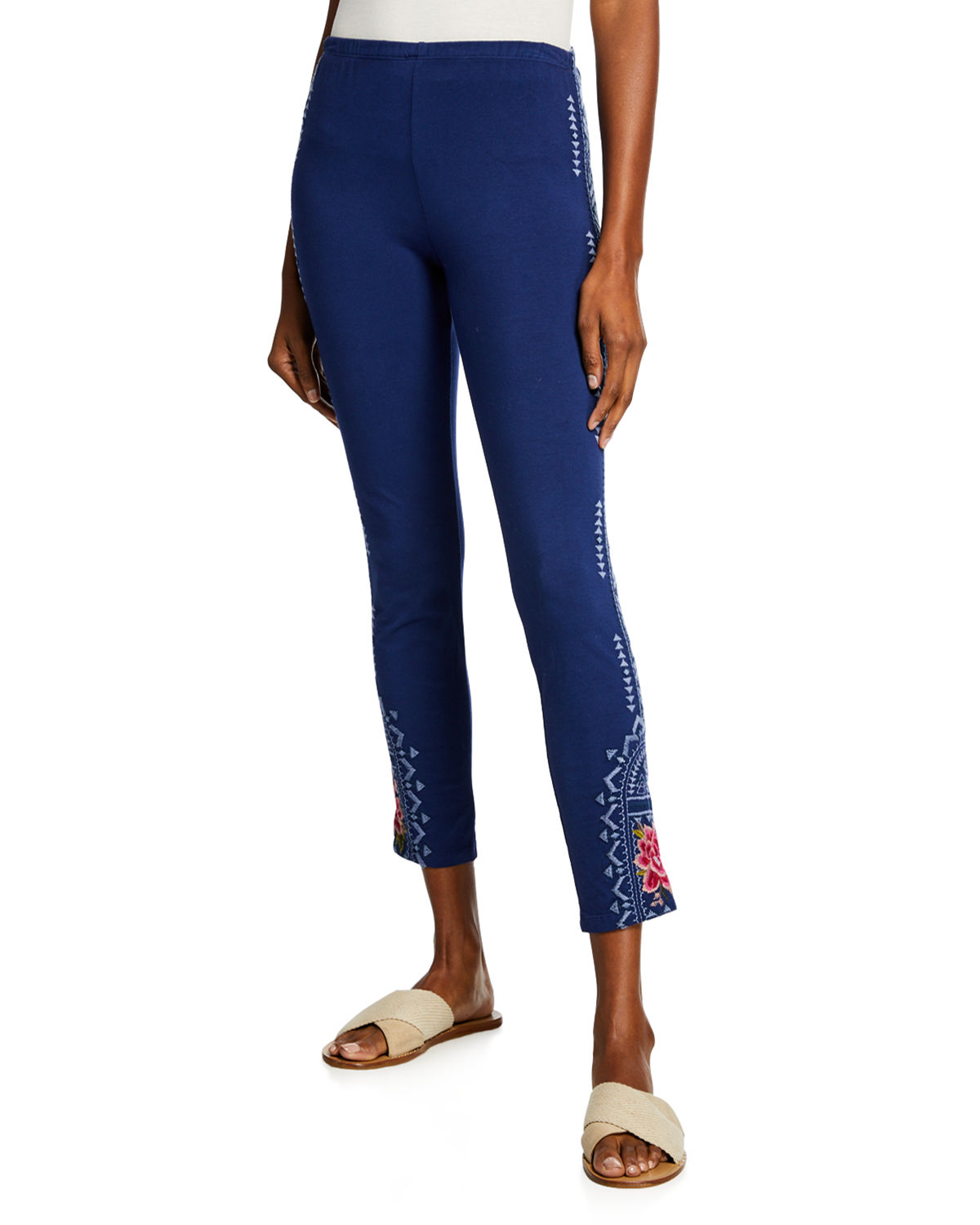 Johnny Was Pants PETITE DAVIS LEGGINGS WITH FLORAL EMBROIDERY