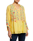 Johnny Was Arge Floral Embroidered Inset Blouse and