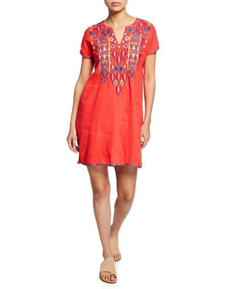 Johnny Was Dresses ETIENNE EMBROIDERED SHORT-SLEEVE EASY LINEN TUNIC DRESS