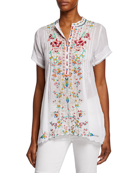 Johnny Was Tops RAINA FLORAL-EMBROIDERED PINTUCKED GEORGETTE TOP