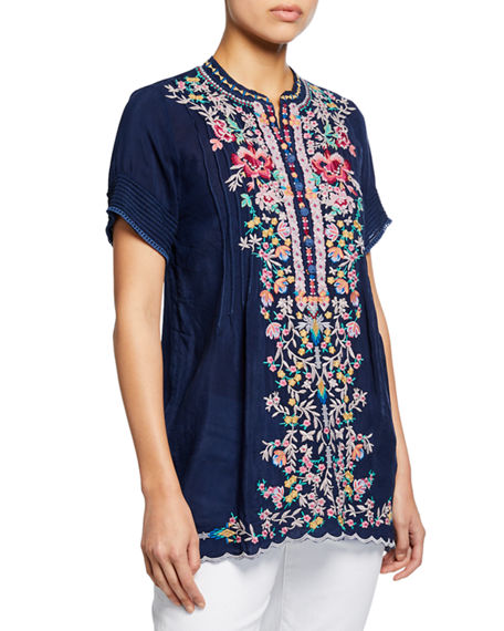 Johnny Was RAINA FLORAL-EMBROIDERED PINTUCKED GEORGETTE TOP