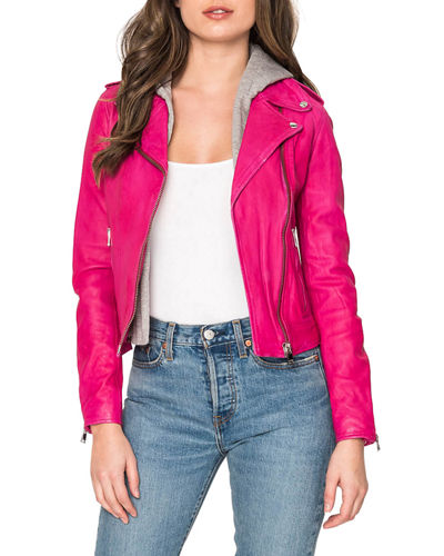 Holy Leather Biker Jacket w/ Removable Hood