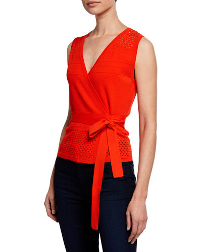 Saffa Faux-Wrap Eyelet Self-Tie Top