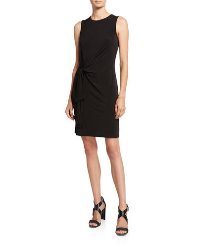 Crewneck Sleeveless Tie-Waist Jersey Dress