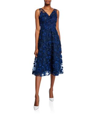 ecbcf60f742 Rickie Freeman for Teri Jon Tulle Tea-Length Dress w  Floral Appliques