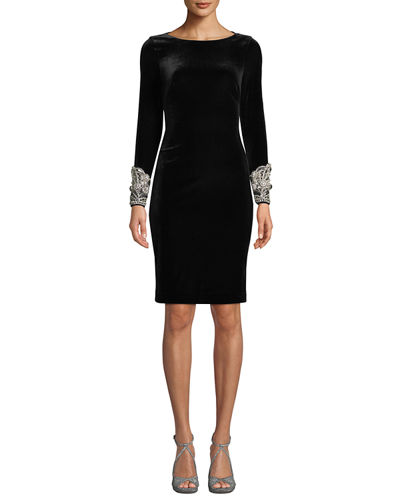 Velvet Long-Sleeve Dress w/ Beaded Cuffs