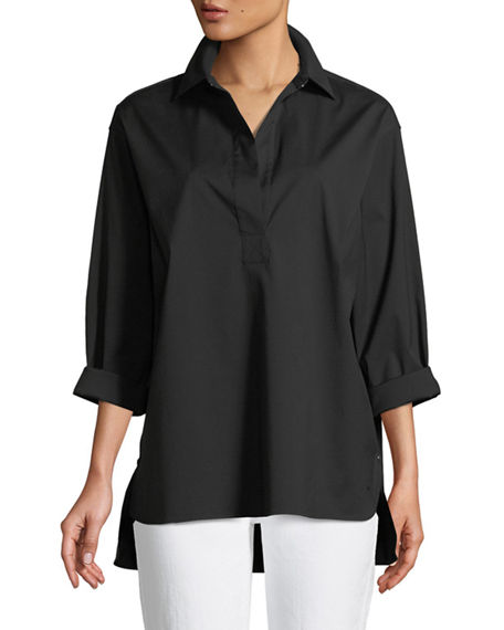 Lafayette 148 Tops BECKETT ITALIAN STRETCH-COTTON BLOUSE