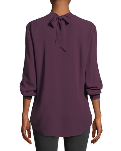 Eileen Fisher Back-Tie Long-Sleeve Silk Blouse